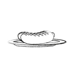 hot dog on plate kitchenware bun and sausage and vector image