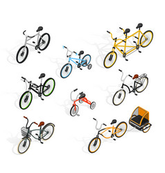 push cycles isometric set vector image vector image