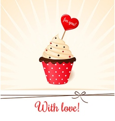 Vintage Valentines card with heart on cream cake vector image vector image