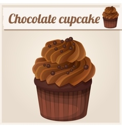 Chocolate cupcake Detailed Icon vector image vector image