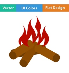 Flat design icon of camping fire vector image vector image