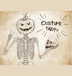 Human skeleton with halloween pumpkin head vector