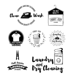 set of laundry labels emblems and design elements vector image vector image