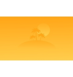 Silhouette of beach and palm on orange backgrounds vector image vector image