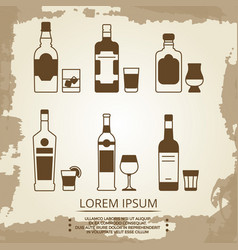 vintage grunge poster with alcoholic drink icons vector image vector image