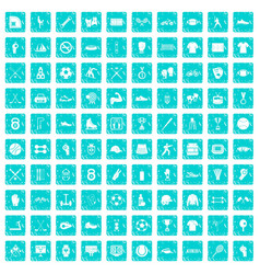 100 athlete icons set grunge blue vector