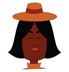 A black female wearing a round brown hat or color vector