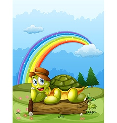 A happy turtle above log and rainbow in vector