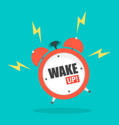 alarm clock with word wake up flat style vector image