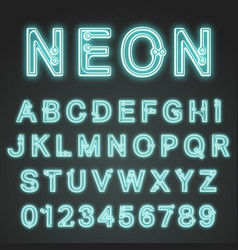 Alphabet font neon design vector