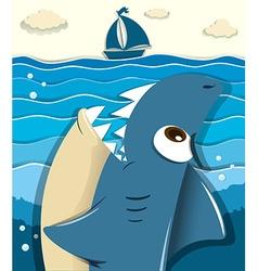 Angry shark aiming for sailboat vector