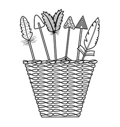 basket with bohemian arrows and feathers vector image
