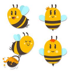 bee with honey cartoon character set vector image