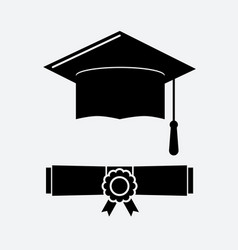 black graduation cap and graduation certificate vector image
