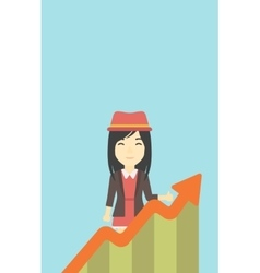 Business woman with growing chart vector
