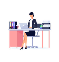 Businesswoman in a flat style isolated on white vector
