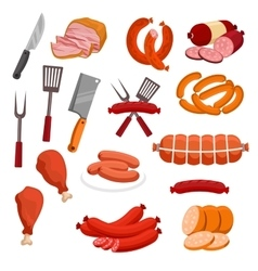 Butchery meat sausage salami isolated icons vector