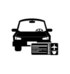 Car and boarding pass icon vector