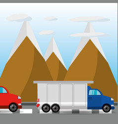 Car and truck over rood with mountain landscape vector
