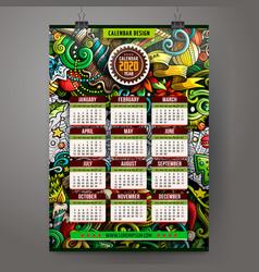 cartoon doodles christmas 2020 year calendar vector image