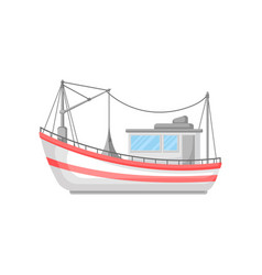Colorful flat design of fishing boat with vector
