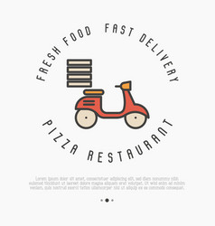 Concept of fast delivery of pizza thin line bike vector