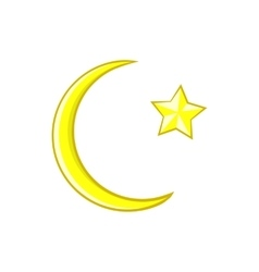 Crescent and star cartoon icon icon cartoon style vector image