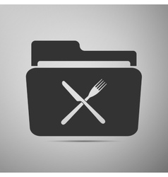 Crossed fork over knife grey folder flat icon on vector
