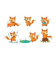 cute little fox doing different activities set vector image