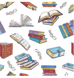 Different books from library doodle vector