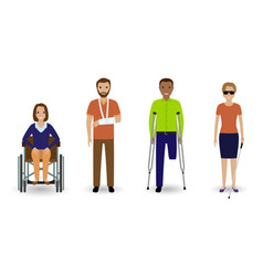 Disability people group invalid men and women vector