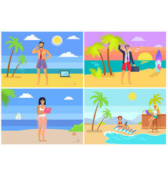 Distant work collection people working seaside vector