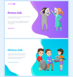 drama and history club children at school web vector image