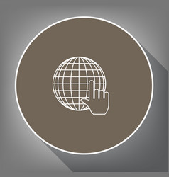 earth globe with cursor white icon on brown vector image