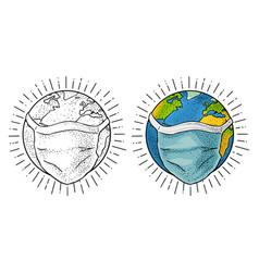 Earth planet in blue medical face mask vintage vector