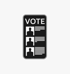 Electronic online voting on a smartphone icon in vector
