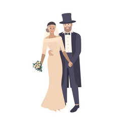 elegant bride wearing exquisite wedding gown and vector image
