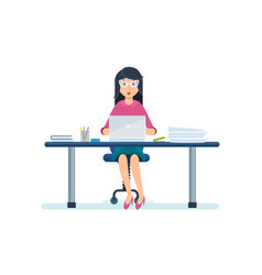 employee sitting in office working at laptop vector image