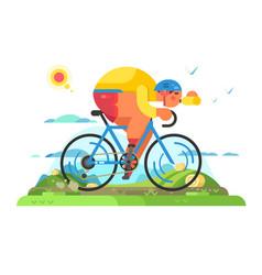 Fast cyclist sportsman on bike vector