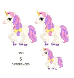 Find 5 differences Baby pony for little princess vector