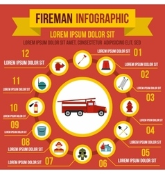 Firefighting infographic elements flat style vector