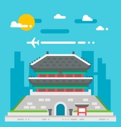 Flat design Namdaemun gate Korea vector image