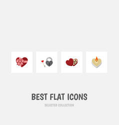 Flat icon heart set of present fire wax shaped vector
