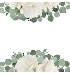 Floral card design with garden white roses vector