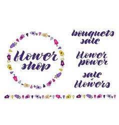 flowerhand lettering flower wreath border vector image