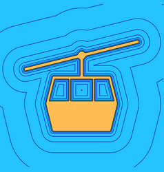 Funicular cable car sign sand color icon vector