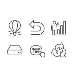 Graph chart undo and air balloon icons set mini vector