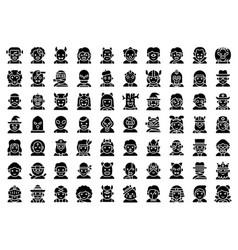 Halloween avatar solid icon set costume vector