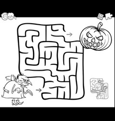 Halloween maze activity for coloring vector