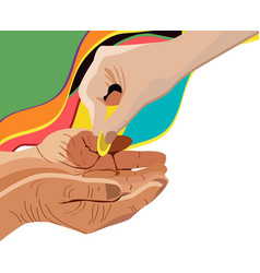 Hand giving alms corner design element vector